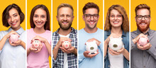 Young People With Piggy Banks