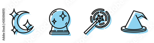 Set line Magic wand, Moon and stars, Magic ball and Witch hat icon Wallpaper Mural