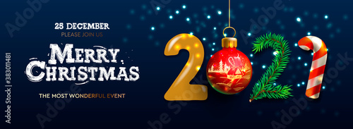 Obraz Merry Christmas and Happy New Year 2021 banner, Xmas festive decoration. Horizontal Christmas posters, cards, headers, website. Vector illustration - fototapety do salonu