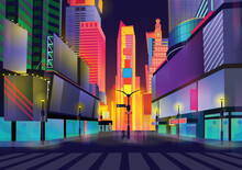 Vector Illustration Of Times Square, New York