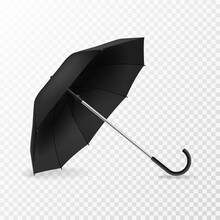Realistic Open Umbrella. Side ...