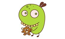 Vector Cartoon Illustration. Bean Monster Is Holding Teddy Bear In Hands. Isolated On White Background.