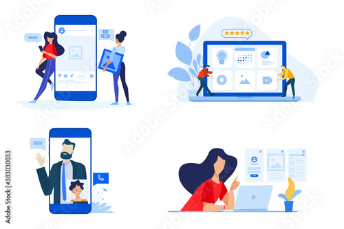 Set of people concept illustrations. Vector illustrations of video call, networking, content review, sharing images, social media profile. - 383030033