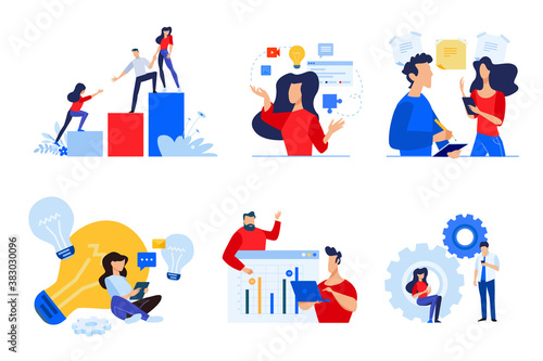 Set of people concept illustrations. Vector illustrations of teamwork, task management, project development, startup, brainstorming, business plan.
