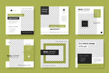 Elegant And Modern Social Media Post Templates With Green Background Color. Square Graphic For Instagram And Facebook