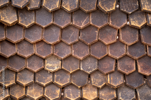 Fotografiet the texture of leather armor, scaly leather armor