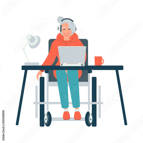 Photo Disabled Person in Wheelchair Working on Computer Desk in Home Office