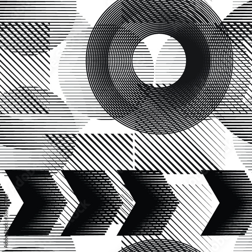 Seamless pattern with speed lines.Triangles  unusual poster Design .Black Vector stripes .Geometric shape. Endless texture . futuristic template. Geometrical modern background with striped shapes Wall mural