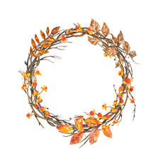 Beautiful Fall Wreath Illustration. Hand Painted Watercolor Autumn Frame Made With Tree Branches, Leaves, Colorful Foliage, Orange Berries. Seasonal Decoration For Thanksgiving Day Cards, Greeting.