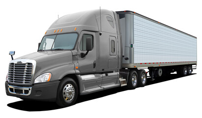 Large American modern truck with an gray cab isolated on a white background.