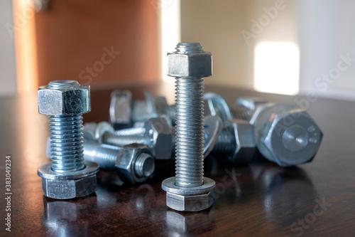 A lot of metal bolts, nuts and washers Billede på lærred