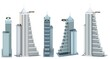 5 renders of fictional design houses with helipad on roof with blue cloudy sky reflection - isolated on white, side view 3d illustration of skyscrapers