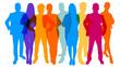 canvas print picture - Silhouetten von Menschen als Business Teamwork Konzept