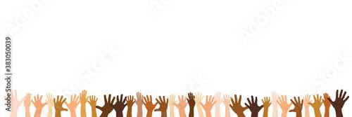 Panorama Banner mit ausgestreckten Händen als Team Wallpaper Mural