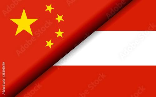 Foto Flags of the China and Austria divided diagonally