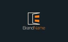 Letter E Logo Formed Window Symbol With Orange Color
