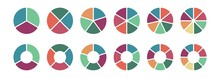 Pie Chart Icon Set, Ring Percentage Diagram Collection,. Colorful Diagram Collection With ,3,4,5,6,7,8 Sections And Steps. Pie Chart For Data Analysis, Business Presentation, UI, Web Design. Vector