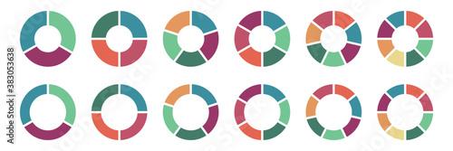 Fotografie, Obraz Pie chart icon set, Circle icons for infographic
