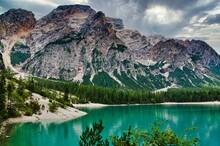 Lake Braies In The Trentino In...