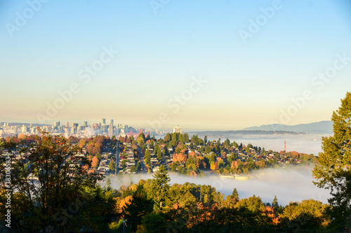 A picture of Vancouver city sight on a misty autumn morning.    BC Canada