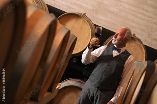 Cuadros en Lienzo Chef appreciating wine bouquet