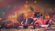 Autumn Composition. Red Pickup Truck With Pumpkin And Straw Bale. Farm Country Style Decorations. Old Vintage Metal Pickup Truck. Retro Car. Happy Thanksgiving Day.