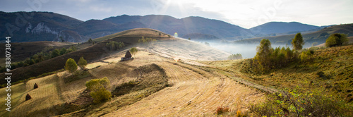 rural Romania beautiful foggy morning landscape in Apuseni mountains Fototapet