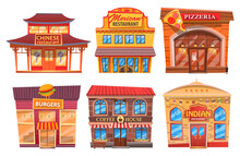 Set Of Dining Public Buildings. Cartoon Chinese Restaurant With Pagoda, Mexican Cafe, Pizzeria, Burger, Coffee Shop, Indian Cuisine. Stylized Building With Traditional Cuisine Of World Nationalities
