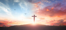 Christian Wooden Cross On The Mountain  Sunset Background