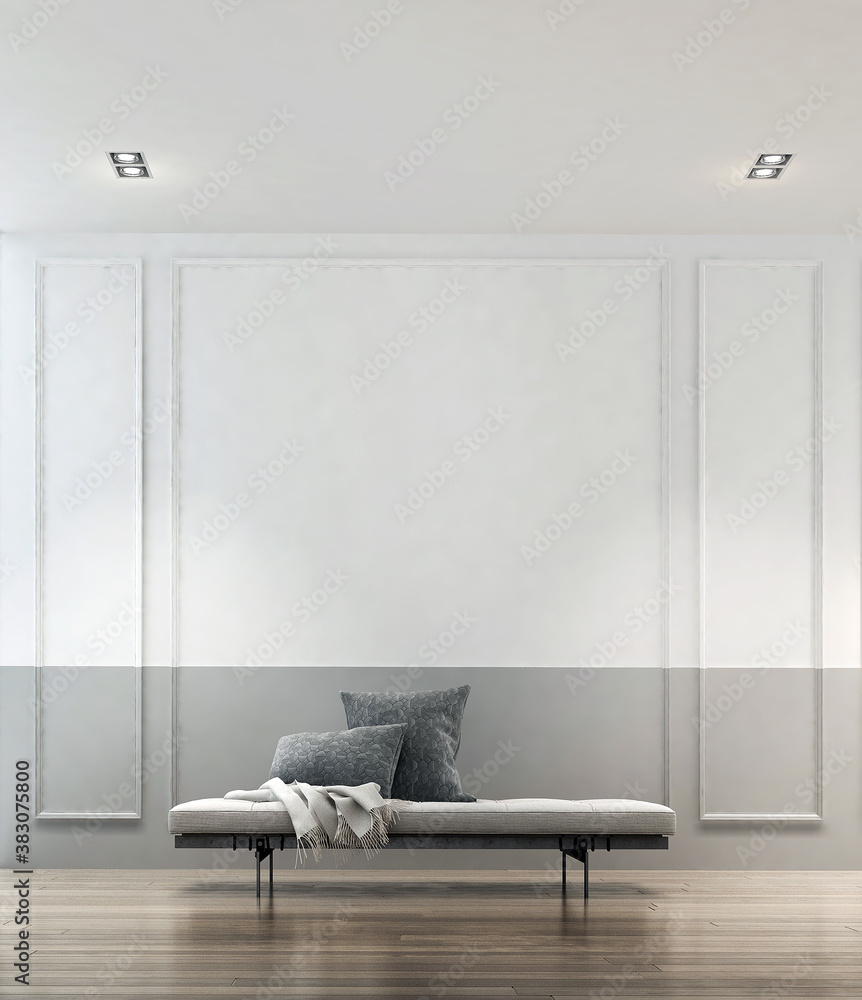 Fototapeta Modern luxury interior and mock up design of living room and wall texture background