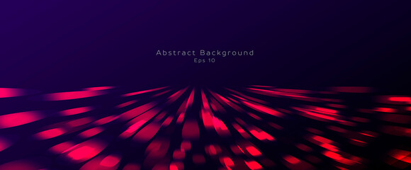 Abstract background of red light particles moving to the center and forming illuminated surface in the dark space