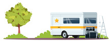 Actor Van Semi Flat RGB Color Vector Illustration. Movie Crew Rest Room. Star Sleeping Place. Film Vehicle. Filming Set Equipment. Grooming Place Isolated Cartoon Scenery On White Background