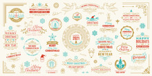 Christmas And Happy New Year Wishes Labels And Badges Set Vector Illustration