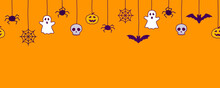 Happy Halloween Seamless Banner Or Border With Black Bats, Spider Web, Ghost  And Pumpkins. Vector Illustration Party Invitation Orange Background