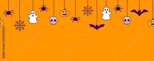 Fototapeta Happy Halloween seamless banner or border with black bats, spider web, ghost  and pumpkins. Vector illustration party invitation orange background obraz
