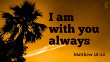 I Am With You Bible Words With Silhouette Of Palm Tree On Summer Background
