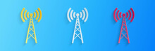 Paper Cut Antenna Icon Isolate...