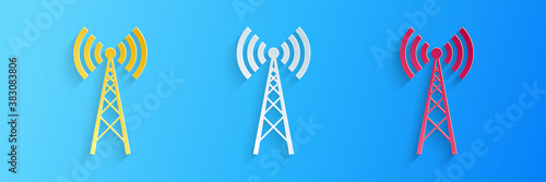 Fotografie, Obraz Paper cut Antenna icon isolated on blue background