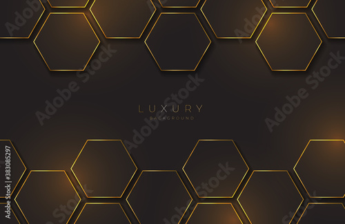 Modern black and gold background textured with abstract hexagon pattern