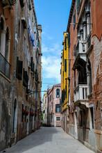 Narrow Street In Venice Italy,...