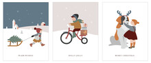 Vintage Style Cute Scandinavian Winter Kids Greeting Cards Collection. Children And Babies Wearing Fashion Bohemian Clothes. Retro Style Vector Illustrations. Fashion Concept