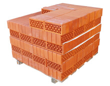 Red Bricks Stacked On Wooden P...