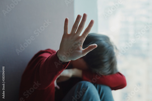 sexual harassment and domestic violence concept, rape and sexual abuse - stresse Fotobehang