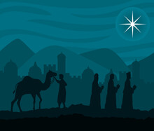 Merry Christmas Nativity Three Wise Men And Camel Design, Winter Season And Decoration Theme Vector Illustration