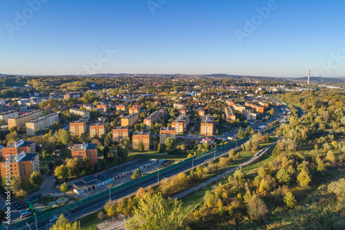 Fototapeta Gorlice, panorama miasta z lotu ptaka obraz