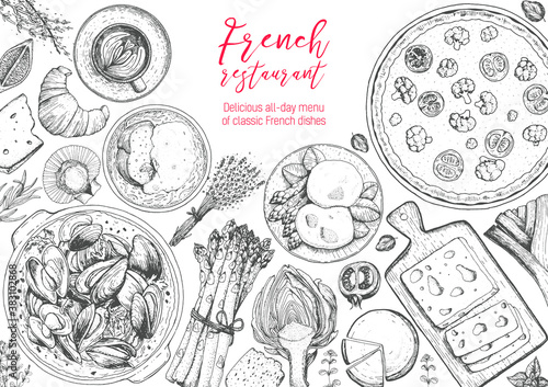 Stampa su Tela French cuisine top view frame