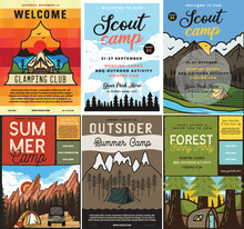 Outdoor Camping Flyers Set, A4 Format. Adventure Posters Graphic Design With Mountains, Forest Scenes, Tents, RV Trailer And Text. Stock Vector Retro Cards Collection