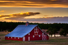 Red Barn In The Sunset