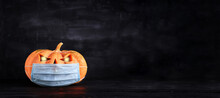 Halloween - Old Jack-o-lantern On Dark Background. Banner
