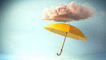 3D Rendering Of An Umbrella Under A Stormy Cloud